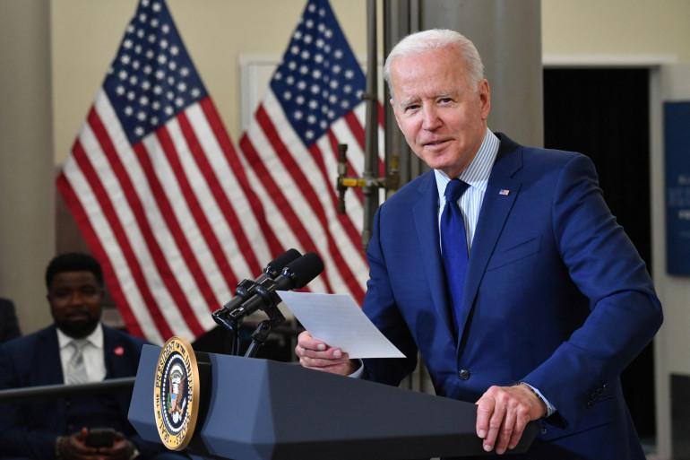 Le président américain s'est exprimé sur son plan de relance au Cuyahoga Community College Manufacturing Technology Center, le 27 mai 2021, dans l'Ohio.