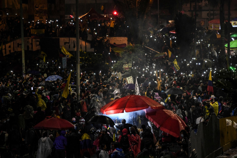 Manifestation contre le gouvernement du président colombien Ivan Duque, à Bogota le 28 mai 2021.