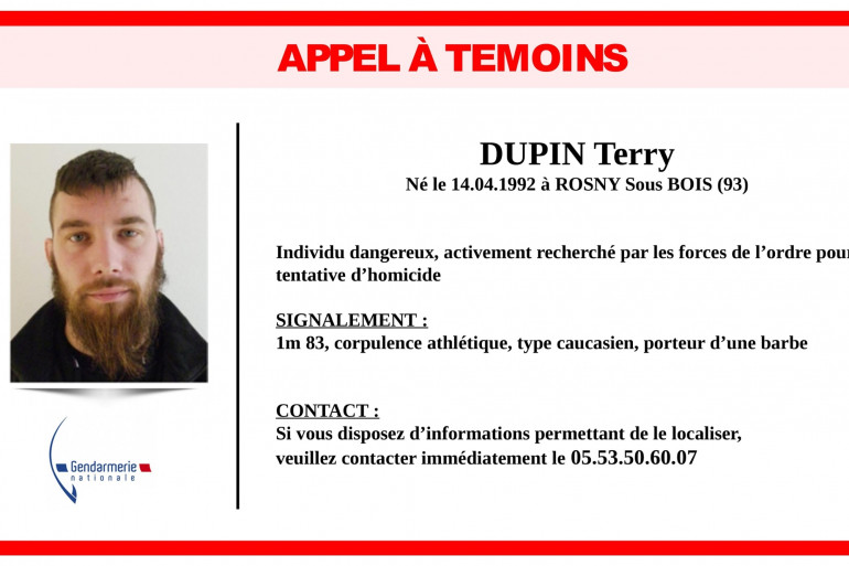 Appel à témoins de la gendarmerie de Dordogne pour retrouver Terry Dupin