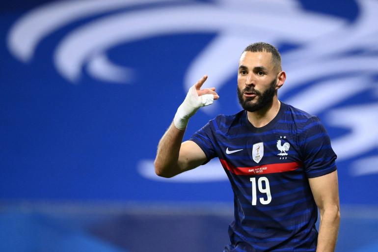 Karim Benzema avec l'équipe de France, face au pays de Galles le 2 juin 2021