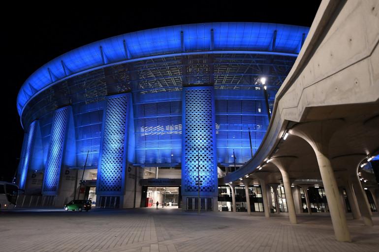 La Puskas Arena de Budapest vue de l'extérieur en mars 2021