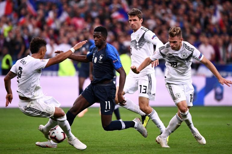 Ousmane Dembélé avec les Bleus face aux Allemands le 16 octobre 2018 à Saint-Denis