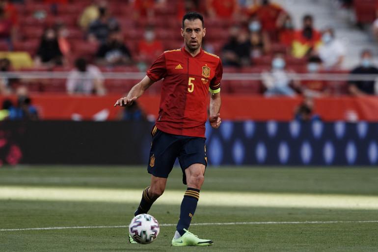Le milieu de terrain espagnol Sergio Busquets le 4 juin 2021 contre le Portugal, à Madrid