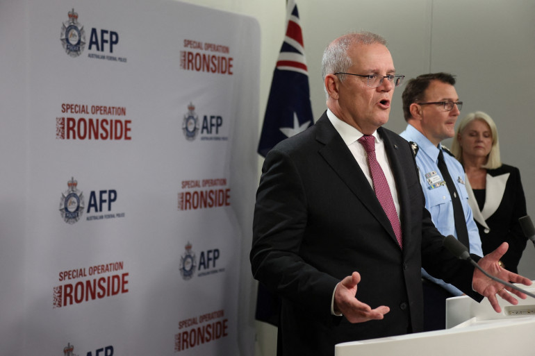 """Le Premier ministre australien Scott Morrison s'exprime lors de la conférence de presse sur l'opération internationale """"Ironside"""", mardi 8 juin à Sydney en Australie"""