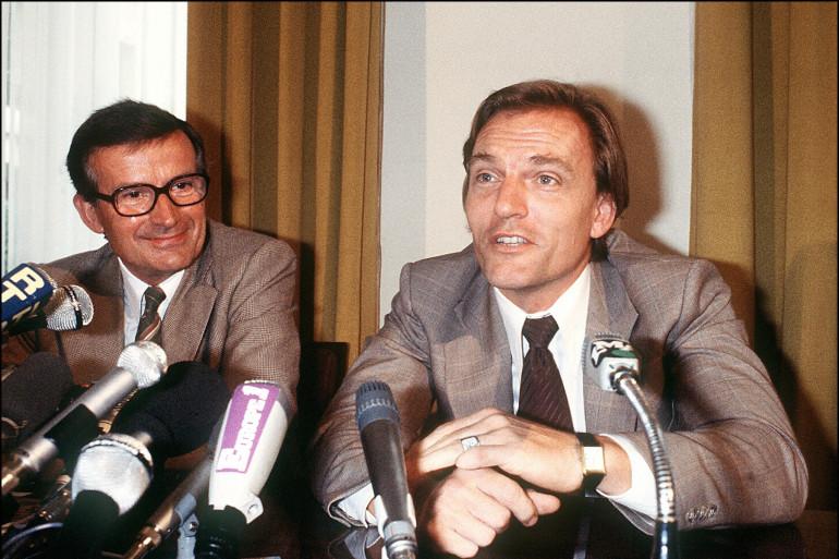 Le Baron Edouard-Jean Empain tient une conférence de presse, le 7 septembre 1978, au Siège du Groupe Empain. Le Baron semble remis de l'enlèvement dont il fut victime au debut de l'année. A ses côtés, son adjoint René Engen.