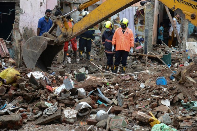 Un immeuble s'est effondré à Bombay en Inde le 9 juin 2021.