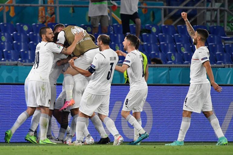 L'Italie célébrant son 2e but face à la Turquie en ouverture de l'EUro 2021 le vendredi 11 juin 2021