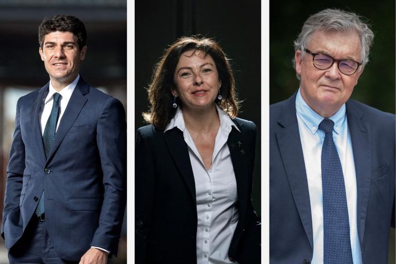 Les trois principales têtes de liste aux régionales en Occitanie : Aurélien Pradié (LR), Carole Delga (PS) et Jean-Paul Garraud (RN)