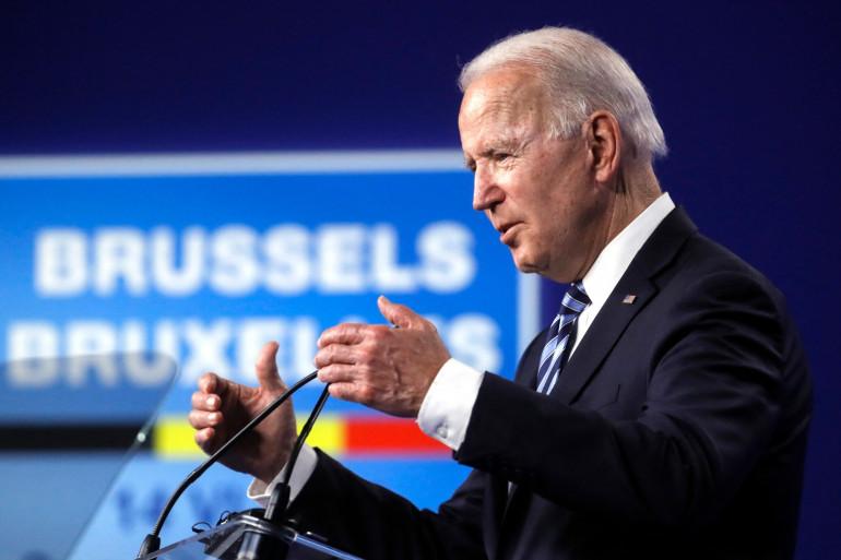 Joe Biden s'exprime lors d'une conférence de presse après le sommet de l'Otan, à Bruxelles, le 14 juin 2021.