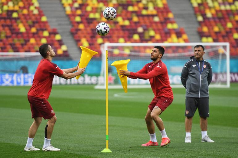 Les joueurs macédoniens à l'entraînement, le mercredi 16 juin