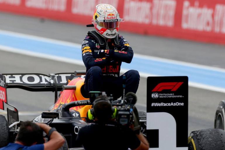 Max Verstappen à l'arrivée du GP de France