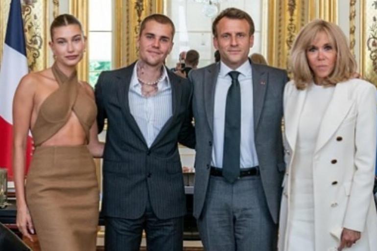 Justin et Hailey Bieber ont rencontré Emmanuel et Brigitte Macron ce lundi 21 juin à l'Élysée