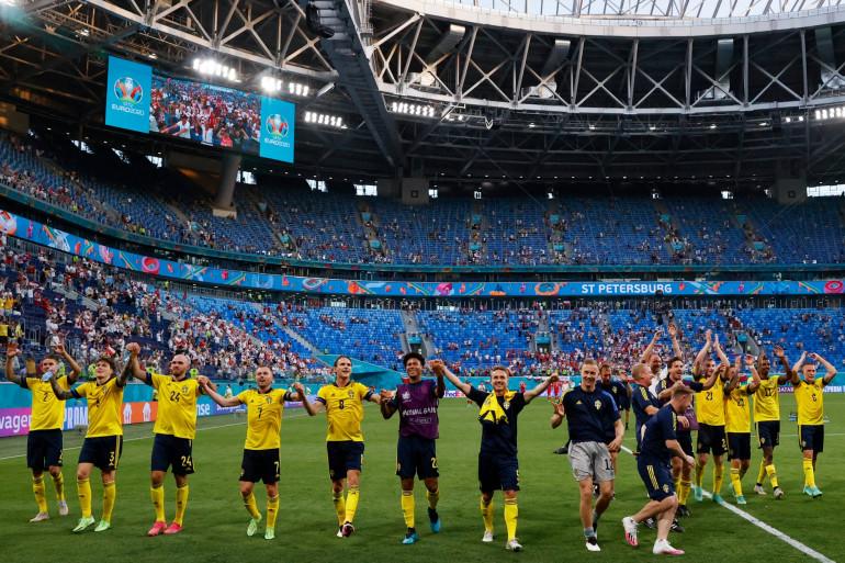 La Suède après sa victoire contre la Pologne le 23 juin 2021