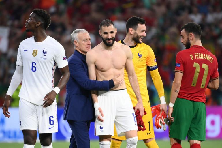 Pogba, Deschamps, Benzema et Lloris le 23 juin 2021 à Budapest