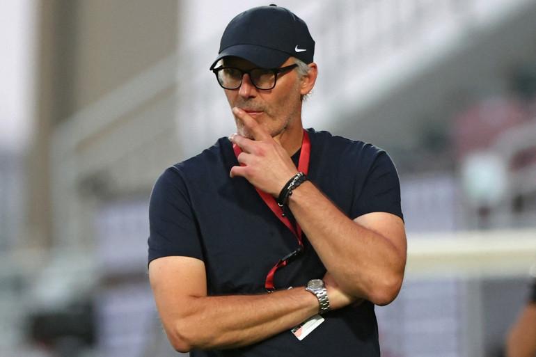 Laurent Blanc avec le club de Al-Rayyan à Doha le 18 février 2021