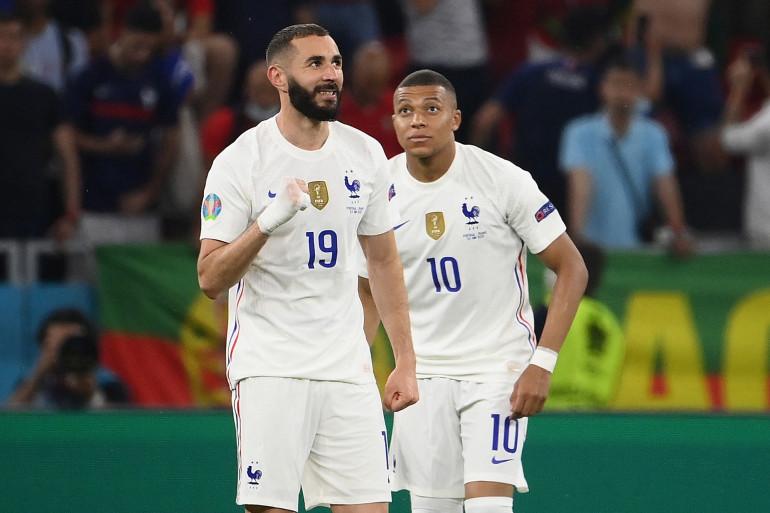 Karim Benzema et Kylian Mbappé à Budapest le 23 juin 2021