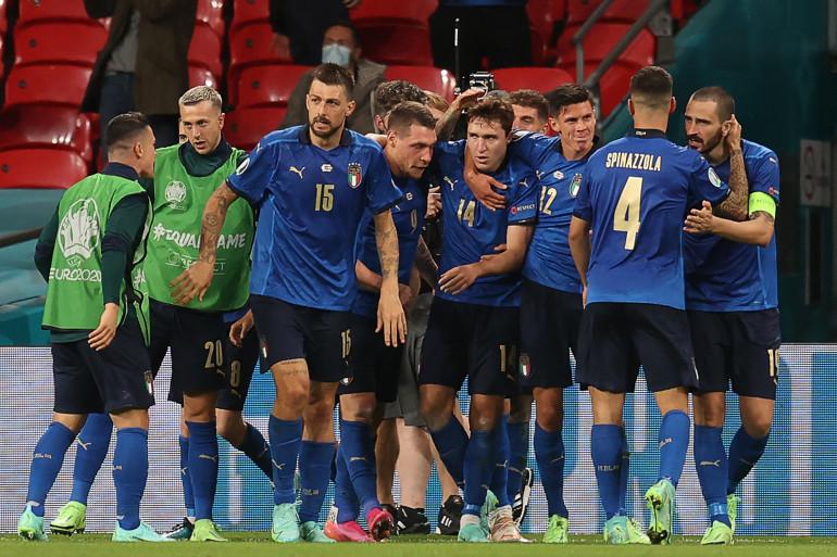 L'Italie célèbre son but face à l'Autriche en huitième de finale de l'Euro 2021 le 26 juin 2021