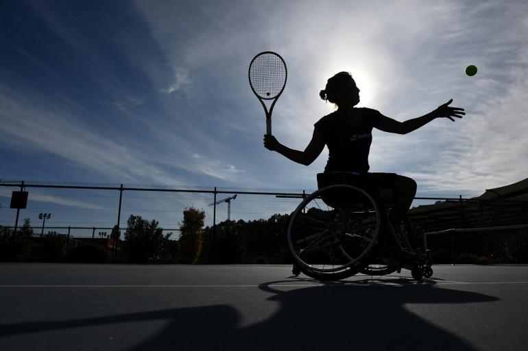 Photo de Pauline Déroulède, prise lors de la 4e édition du tournoi de tennis en fauteuil roulant Français Riviera Open à Biot, le 28 septembre 2020. (Illustration)