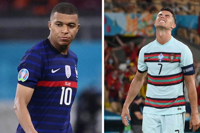 Kylian Mbappé lors du match France-Suisse le 28 juin et Cristiano Ronaldo lors de la défaite portugaise contre la Belgique.