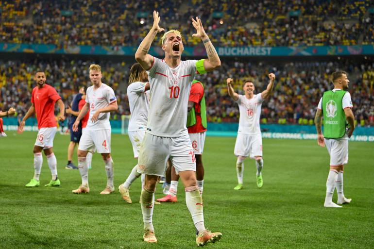 Granit Xhaka et les Suisses à Bucarest le 28 juin 2021