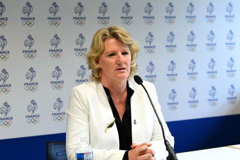 Brigitte Henriques s'exprime le 29 juin 2021 à Paris, après avoir été élue présidente du Comité national olympique et sportif français (CNOSF).