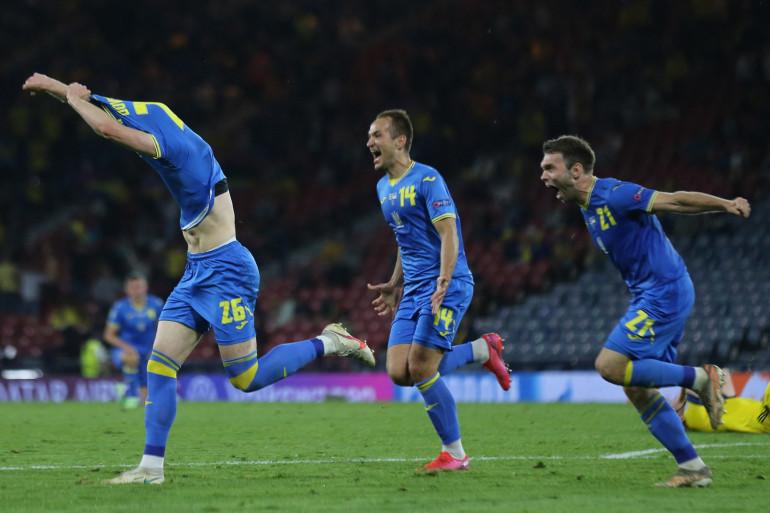 L'équipe d'Ukraine face à la Suède le 29 juin 2021, en huitièmes de finale de l'Euro 2021