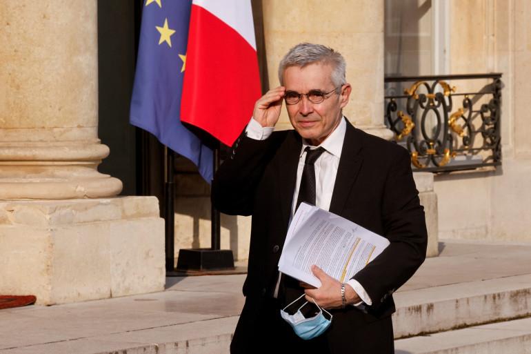 Photo de Yves Veyrier, le secrétaire général du syndicat français FO, prise à Paris le 29 avril 2021.