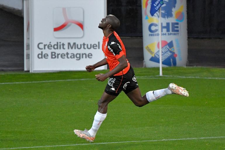 Photo de Yoane Wissa, l'attaquant Français de Lorient, prise stade Moustoir de Lorient, dans le nord-ouest de la France, le 16 mai 2021. (Illustration)