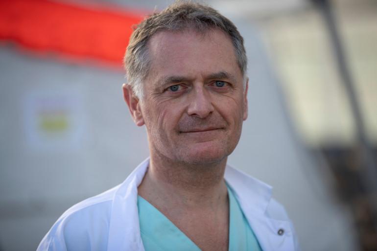 Photo de Philippe Juvin, chef des urgences de l'hôpital Georges Pompidou à Paris, prise le 25 mars 2020. (Illustration)