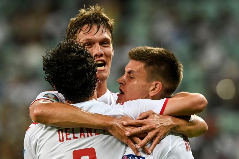 Les Danois lors du quart de finale remporté contre la République Tchèque le 3 juillet 2021 à Bakou.