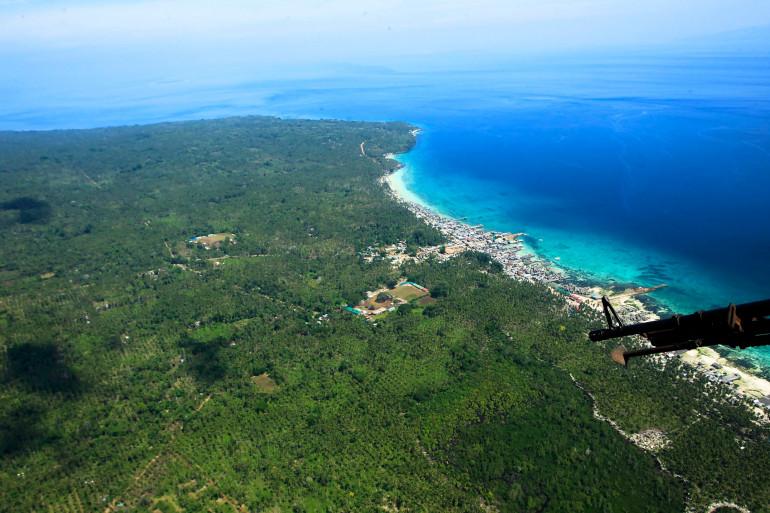 Vue aérienne de l'île de Jolo, dans la province de Sulu aux Philippines.
