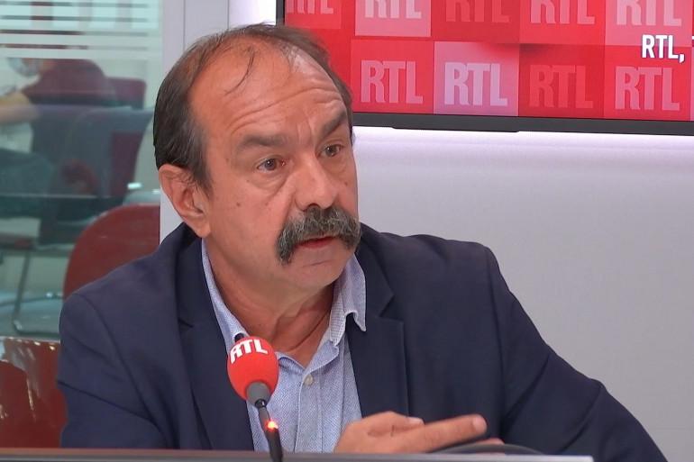 Philippe Martinez dans le studio de RTL Soir, le 5 juillet 2021