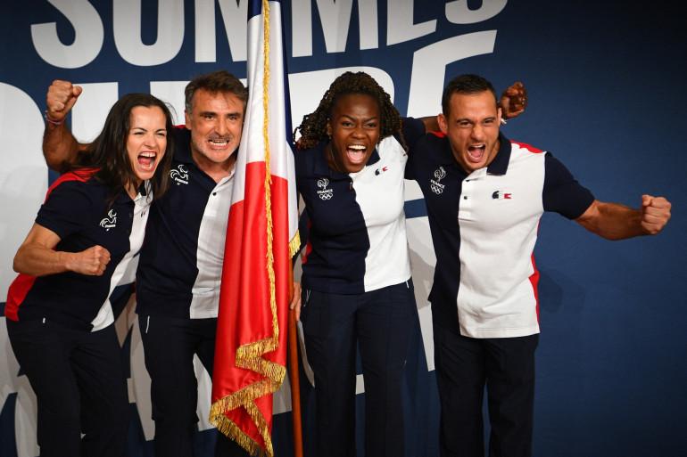 Sandrine Martinet, Stéphane Houdet, Clarisse Agbegnenou et Samir Aït Saïd à Paris le 5 juillet 2021