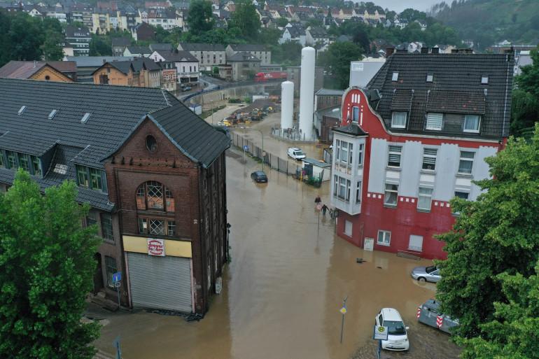 La ville d'Hager, en Allemagne, victime d'inondation