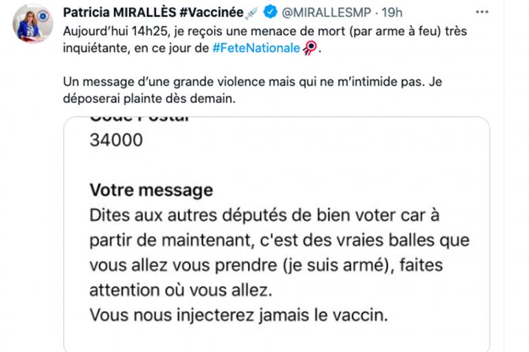 Le message de menace reçu par Patricia Mirallès, députée LaREM dans l'Hérault.