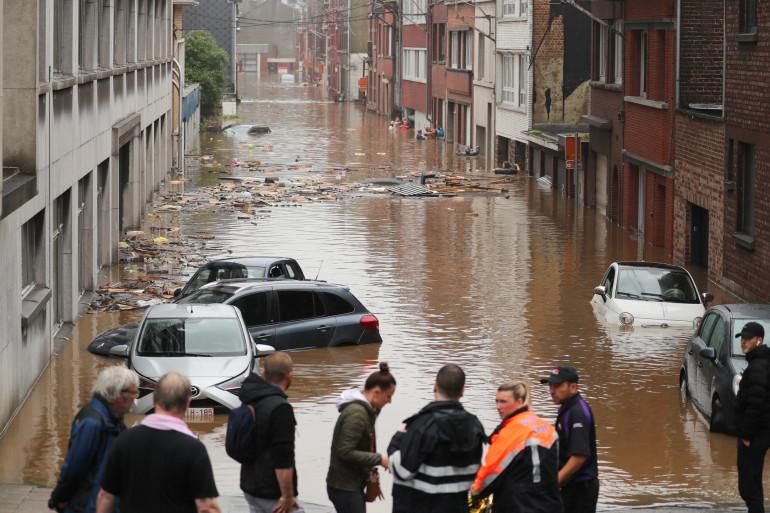 La ville de Liège en Belgique, inondée le 15 juillet 2021.