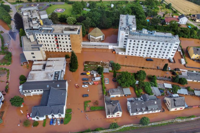 La ville de Trèves en Allemagne sous les eaux, le 15 juillet 2021
