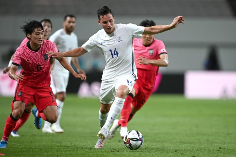 Florian Thauvin avec l'équipe de France olympique le 16 juillet 2021 face à la Corée du Sud en amical à Séoul
