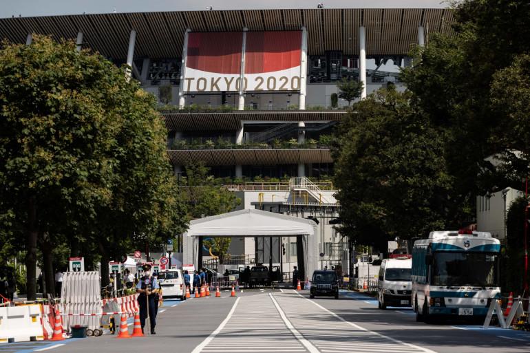 Le stade national, site principal des Jeux olympiques et paralympiques de Tokyo 2020, le 17 juillet 2021.