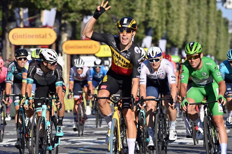 Wout Van Aert le 18 juillet 2021 lors de la dernière étape du Tour de France
