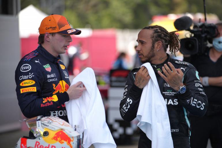 Max Verstappen et Lewis Hamilton au GP d'Espagne le 9 mai 2021
