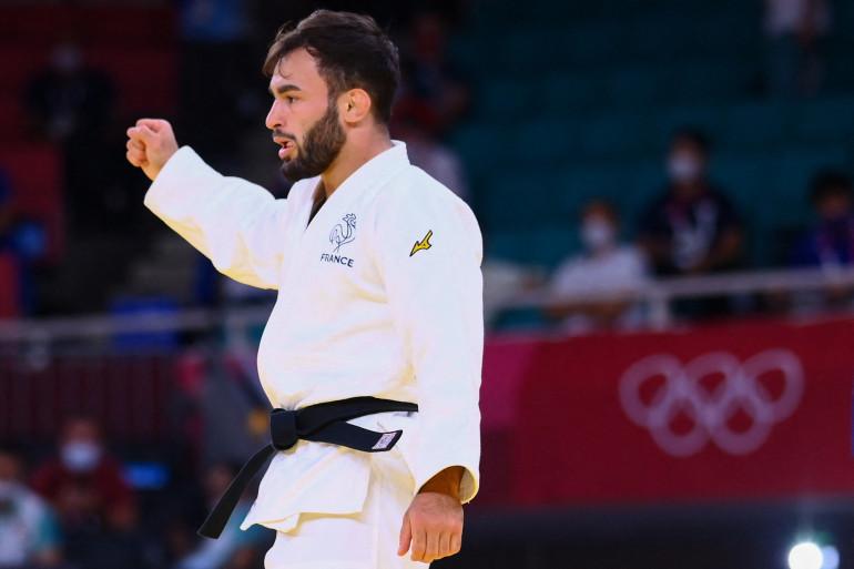 Le judoka français Luka Mkheidze à Tokyo le 24 juillet 2021