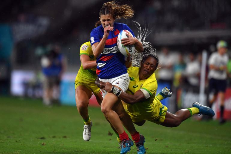 La Française Lina Guérin lors d'un tournoi de rugby à 7 le 2 février 2020 à Sydney.