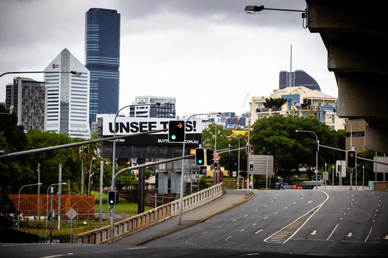 Les rues désertes de Brisbane lors du confinement de janvier 2021 (illustration).