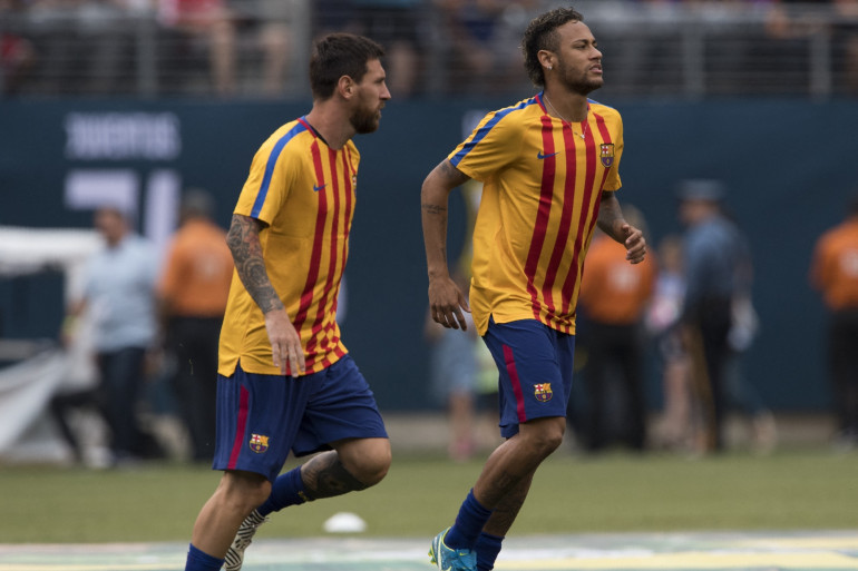 Lionel Messi et Neymar, sous le maillot du FC Barcelone, en 2017