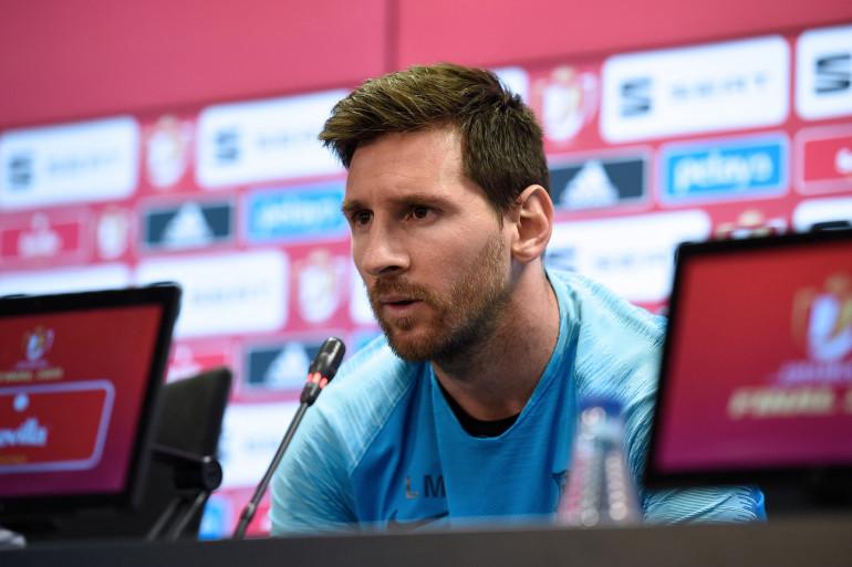 Lionel Messi en conférence de presse, en mai 2019