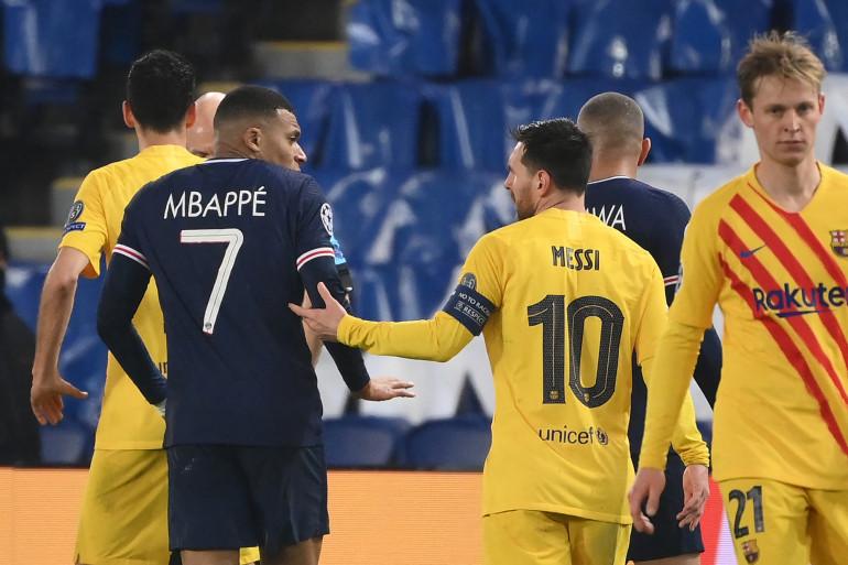 Kilyan Mbappé et Lionel Messi, au Parc des Princes le 10 mars 2021