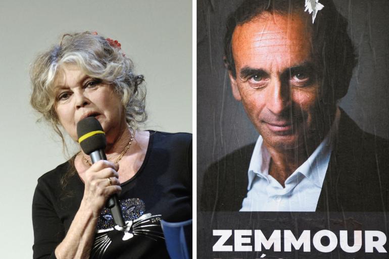 Brigitte Bardot et une affiche d'Eric Zemmour