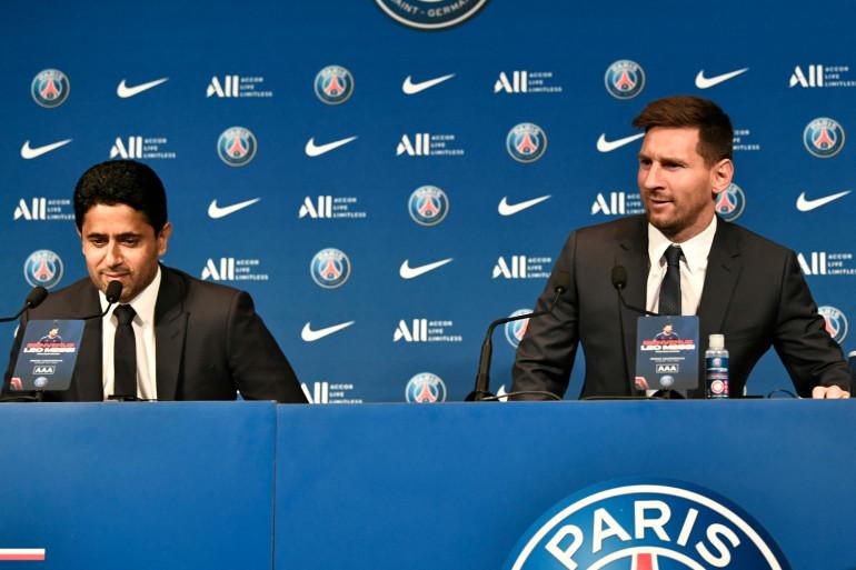 Le président du PSG Nasser Al-Khelaifi et Lionel Messi, le 11 août 2021