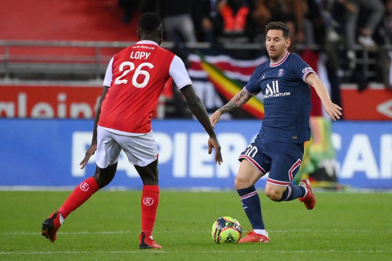 Lionel Messi lors de son premier match avec le Paris Saint-Germain, le 29 août 2021 à Reims.